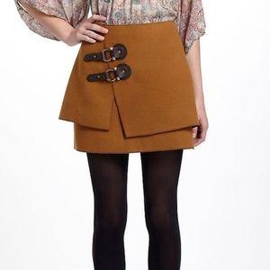 Anthropologie Meadow Rue Brown Buckle Felt Skirt 6